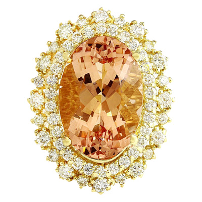 12.40 Carat Natural Morganite 14K Solid Yellow Gold Diamond Ring