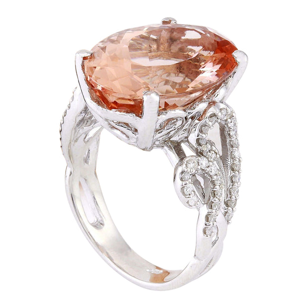 11.30 Carat Natural Morganite 14K Solid White Gold Diamond Ring - Fashion Strada