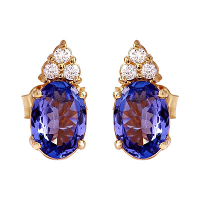 1.65 Carat Natural Tanzanite 14K Solid Yellow Gold Diamond Stud Earrings