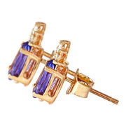 1.65 Carat Natural Tanzanite 14K Solid Yellow Gold Diamond Stud Earrings - Fashion Strada