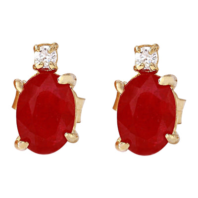 1.76 Carat Natural Ruby 14K Solid Yellow Gold Diamond Stud Earrings