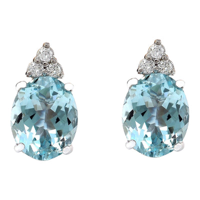 5.40 Carat Natural Aquamarine 14K Solid White Gold Diamond Stud Earrings - Fashion Strada