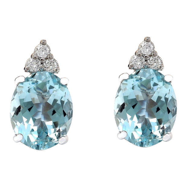 5.40 Carat Natural Aquamarine 14K Solid White Gold Diamond Stud Earrings