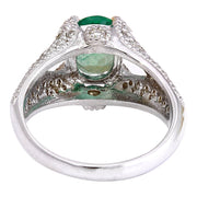 2.34 Carat Natural Emerald 14K Solid White Gold Diamond Ring - Fashion Strada