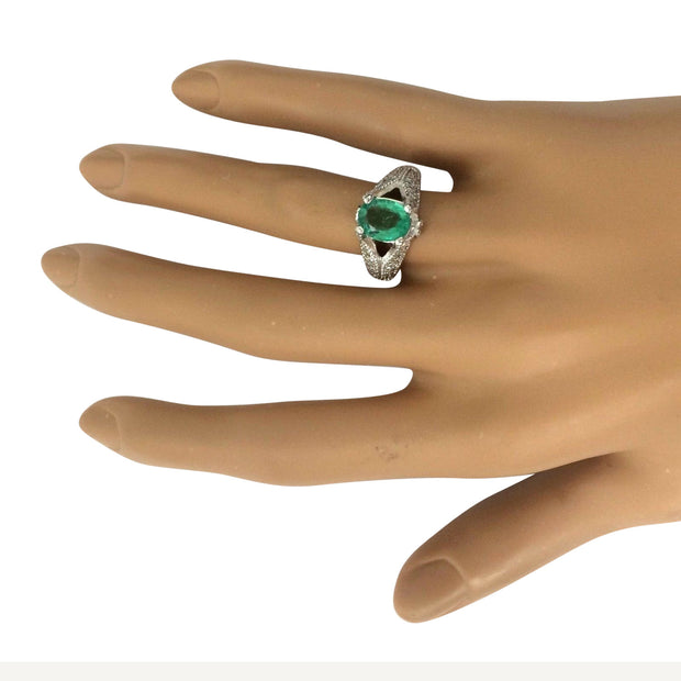 2.34 Carat Natural Emerald 14K Solid White Gold Diamond Ring