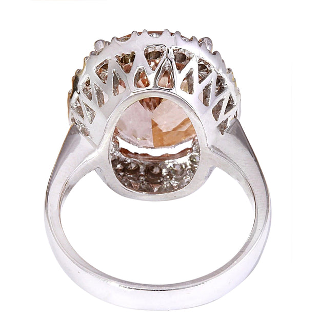 7.82 Carat Natural Morganite 14K Solid White Gold Diamond Ring - Fashion Strada