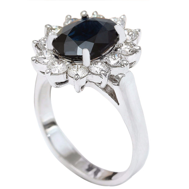 4.55 Carat Natural Sapphire 14K Solid White Gold Diamond Ring - Fashion Strada