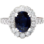 3.35 Carat Natural Sapphire 14K Solid White Gold Diamond Ring - Fashion Strada
