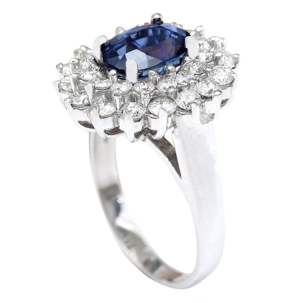 4.16 Carat Natural Sapphire 14K Solid White Gold Diamond Ring - Fashion Strada