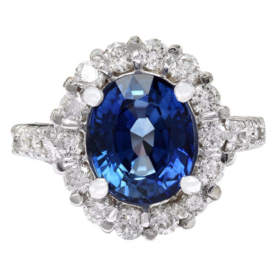 5.20 Carat Natural Ceylon Sapphire 14K Solid White Gold Diamond Ring
