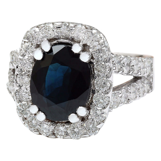 3.52 Carat Natural Sapphire 14K Solid White Gold Diamond Ring - Fashion Strada