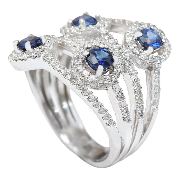 2.5 Carat Natural Sapphire 14K Solid White Gold Diamond Ring - Fashion Strada