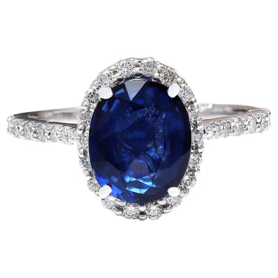 4.27 Carat Natural Ceylon Sapphire 14K Solid White Gold Diamond Ring - Fashion Strada
