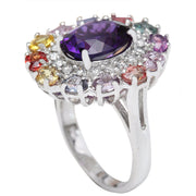 12.10 Carat Natural Amethyst, Sapphire 14K Solid White Gold Diamond Ring - Fashion Strada