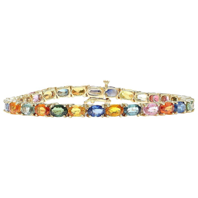 17.00 Carat Natural Sapphire 14K Solid Yellow Gold Bracelet - Fashion Strada
