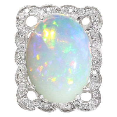13.10 Carat Natural Opal 14K Solid White Gold Diamond Ring