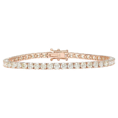 5.40 Carat Natural Diamond 14K Solid Rose Gold Bracelet