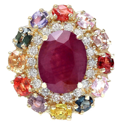 9.11 Carat Natural Ruby, Sapphire 14K Solid Yellow Gold Diamond Ring