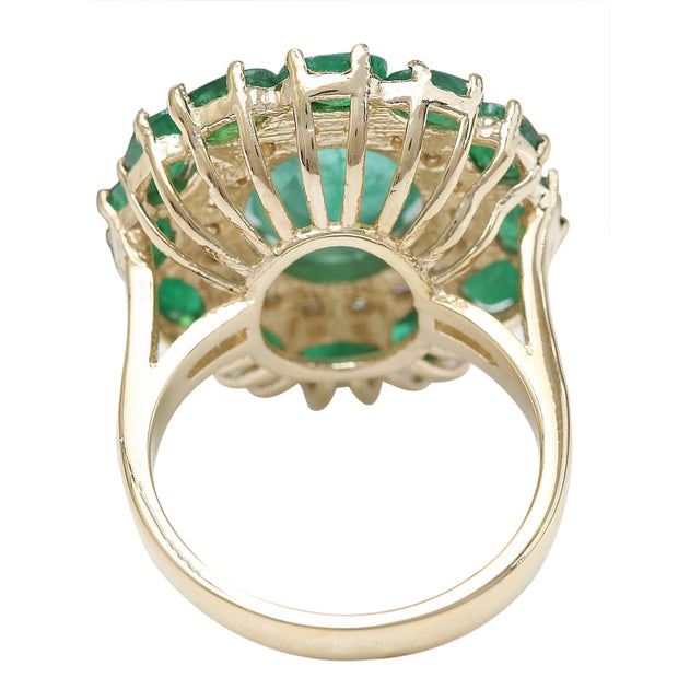 6.97 Carat Natural Emerald 14K Solid Yellow Gold Diamond Ring