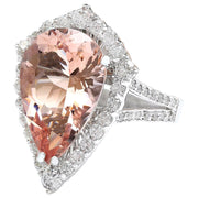 7.49 Carat Natural Morganite 14K Solid White Gold Diamond Ring - Fashion Strada