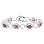 11.77 Carat Natural Tourmaline 14K Solid White Gold Diamond Bracelet - Fashion Strada