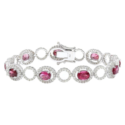 11.77 Carat Natural Tourmaline 14K Solid White Gold Diamond Bracelet