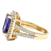 4.29 Carat Natural Tanzanite 14K Solid Yellow Gold Diamond Ring