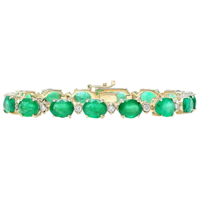27.98 Carat Natural Emerald 14K Solid Yellow Gold Diamond Bracelet