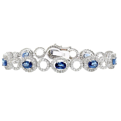 10.58 Carat Natural Sapphire 14K Solid White Gold Diamond Bracelet