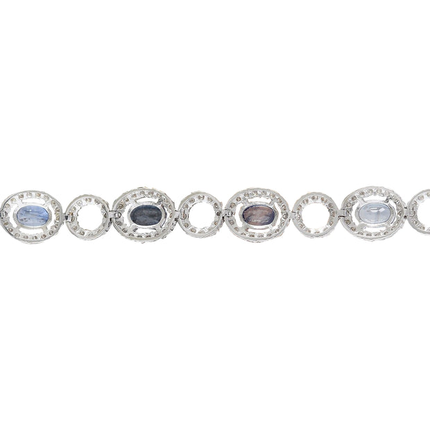 10.58 Carat Natural Sapphire 14K Solid White Gold Diamond Bracelet - Fashion Strada