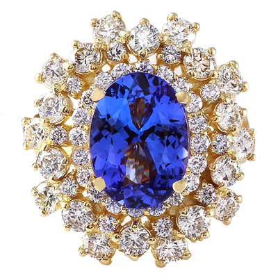 6.82 Carat Natural Tanzanite 14K Solid Yellow Gold Diamond Ring