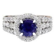 3.99 Carat Natural Tanzanite 14K Solid White Gold Diamond Ring