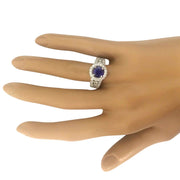 3.99 Carat Natural Tanzanite 14K Solid White Gold Diamond Ring - Fashion Strada
