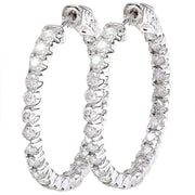 2.25 Carat Natural Diamond 14K Solid White Gold Earrings - Fashion Strada