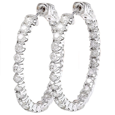 2.25 Carat Natural Diamond 14K Solid White Gold Earrings