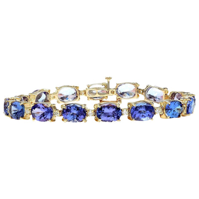 29.50 Carat Natural Tanzanite 14K Solid Yellow Gold Diamond Bracelet