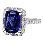 7.96 Carat Natural Tanzanite 14K Solid White Gold Diamond Ring