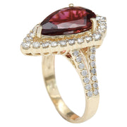 5.93 Carat Natural Tourmaline 14K Solid Yellow Gold Diamond Ring