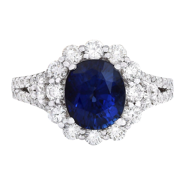 4.80 Carat Natural Sapphire 14K Solid White Gold Diamond Ring - Fashion Strada