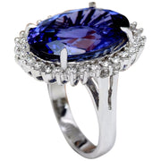 19.64 Carat Natural Tanzanite 14K Solid White Gold Diamond Ring