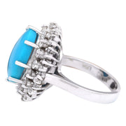 10.82 Carat Natural Turquoise 14K Solid White Gold Diamond Ring - Fashion Strada