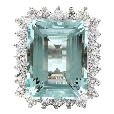 13.08 Carat Natural Aquamarine 14K Solid White Gold Diamond Ring