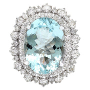 10.04 Carat Natural Aquamarine 14K Solid White Gold Diamond Ring - Fashion Strada