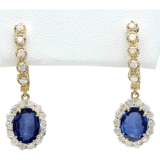4.77 Carat Natural Sapphire 14K Solid Yellow Gold Diamond Earrings - Fashion Strada