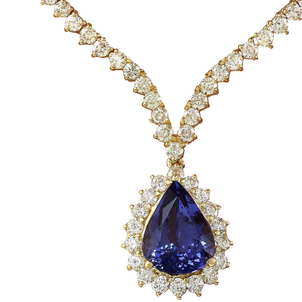 17.67 Carat Natural Tanzanite 14K Solid Yellow Gold Diamond Necklace