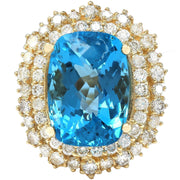 15.64 Carat Natural Topaz 14K Solid Yellow Gold Diamond Ring - Fashion Strada