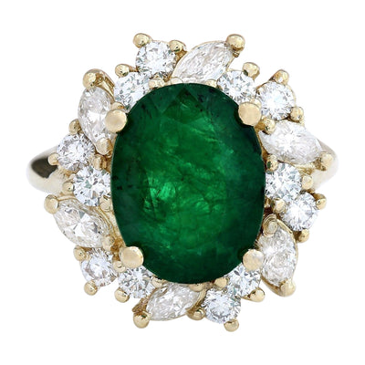 6.94 Carat Natural Emerald 14K Solid Yellow Gold Diamond Ring