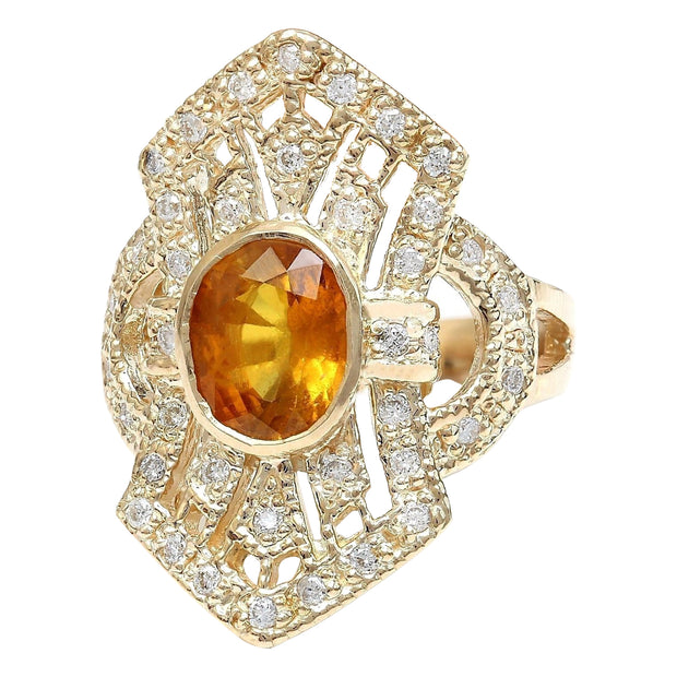 2.88 Carat Natural Sapphire 14K Solid Yellow Gold Diamond Ring - Fashion Strada