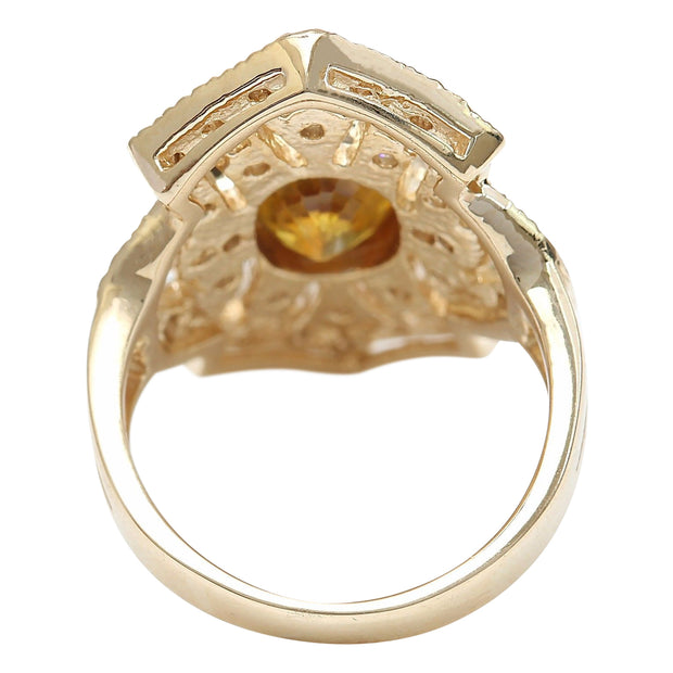 2.88 Carat Natural Sapphire 14K Solid Yellow Gold Diamond Ring