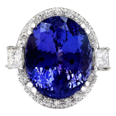 22.92 Carat Natural Tanzanite 14K Solid White Gold Diamond Ring